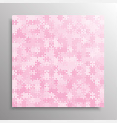 Jigsaw puzzle pink pieces frame banner vector