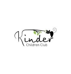 Kinder - logo children club with fun cat vector