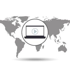 laptop social media world map vector image