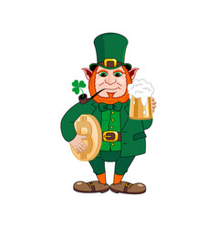 leprechaun with a mug of beer a smoking pipe vector image