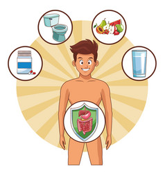 Man digestive system well working vector