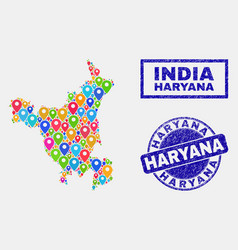 Map markers mosaic haryana state map and grunge vector