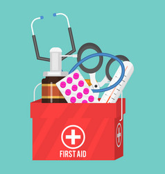 medical instruments aid kit doctor tools vector image