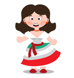 Mexican dancer girl cartoon character vector