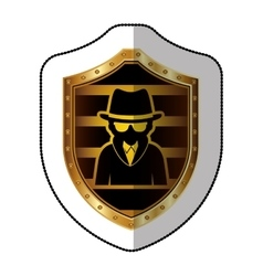 middle shadow sticker of hacker in yellow shield vector image