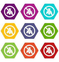 No fly sign icon set color hexahedron vector