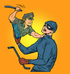 Online security a police officer detains a thief vector