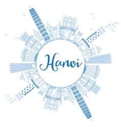 Outline Hanoi skyline with blue Landmarks vector
