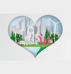 paper art of world environment day vector image