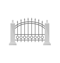 part of wrought iron fence with stone fence posts vector image