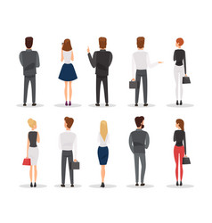 people back view flat set vector image