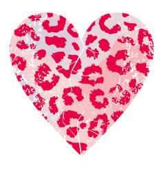 Pink animal print heart vector