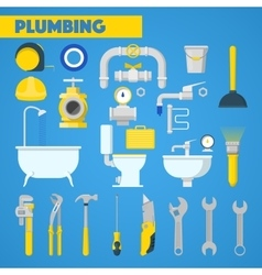 Plumbing Tools Set and Bathroom Elements vector image