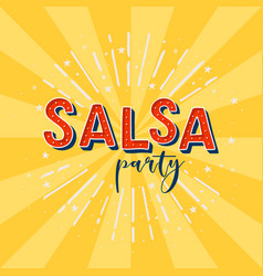Salsa party logotype yellow rays background vector