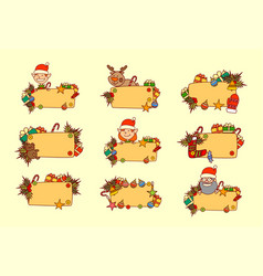 set hand drawn christmas banners empty for text vector image