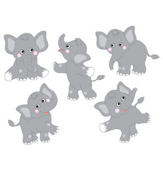 set of cute cartoon elephants vector image