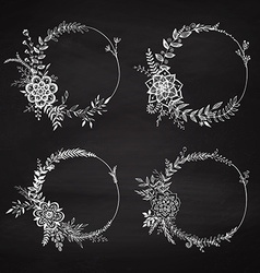 Set of floral wreaths vector