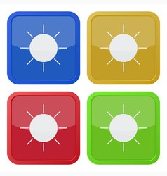 Set of four square icons with sun vector