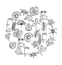 set of spring theme nature flowers love birds vector image