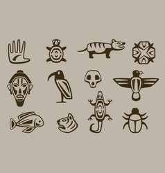 set of stylized native american symbols vector image