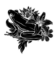 Silhouette frog on leaf image vector