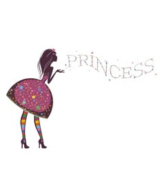 Silhouette of a beautiful princess i vector image