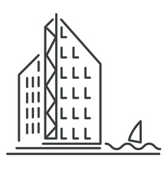 skyscraper or office building isolated icon vector image
