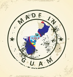 Stamp with map flag of Guam vector
