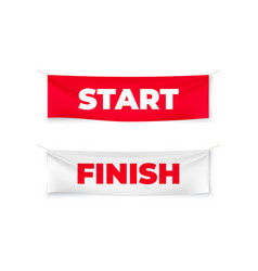 Start and finish realistic banners flags vector