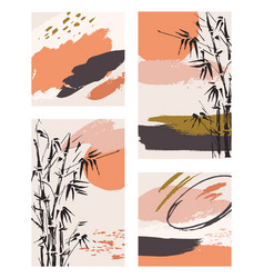 Stylish templates with abstract shapes and bamboo vector