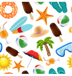summer seamless pattern various symbols of summer vector image