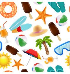 summer seamless pattern various symbols summer vector image