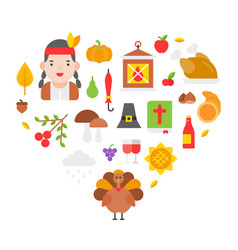 thanksgiving icon arrange as heart shape for use vector image