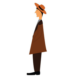 the side view a man standing or color vector image