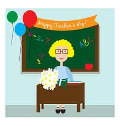 the teacher in the classroom sitting with flowers vector image