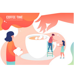 tiny men make coffee vector image