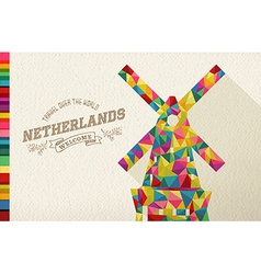 Travel netherlands landmark polygonal windmill vector image