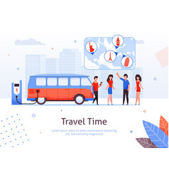 Travel time man and woman friend minivan road trip vector