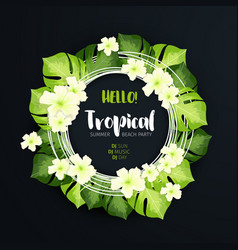 Tropical beach party circle banner on the dark vector