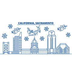 Usa california sacramento winter city skyline vector