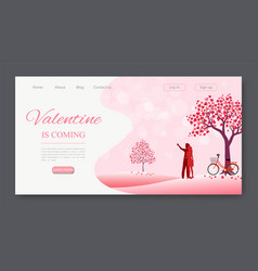 Valentines day landing page vector