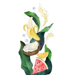 watercolor composition green tropical vector image