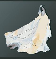 wedding dress watercolor vector image