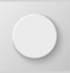 White Blank Circle Button Icon on Light Background vector