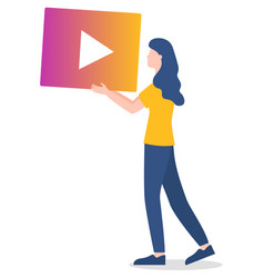 woman with video play button social media vector image