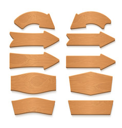 wooden arrow signboards and wood banners vector image