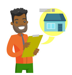 Young african man reading real estate advertising vector