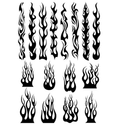 Black tribal flames set vector image vector image