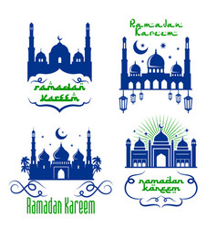 mosque icons for ramadan kareem greetings vector image vector image