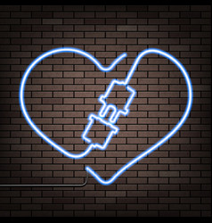neon heart on a brick wall vector image